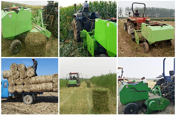 working site of combine straw harvester with baler machine