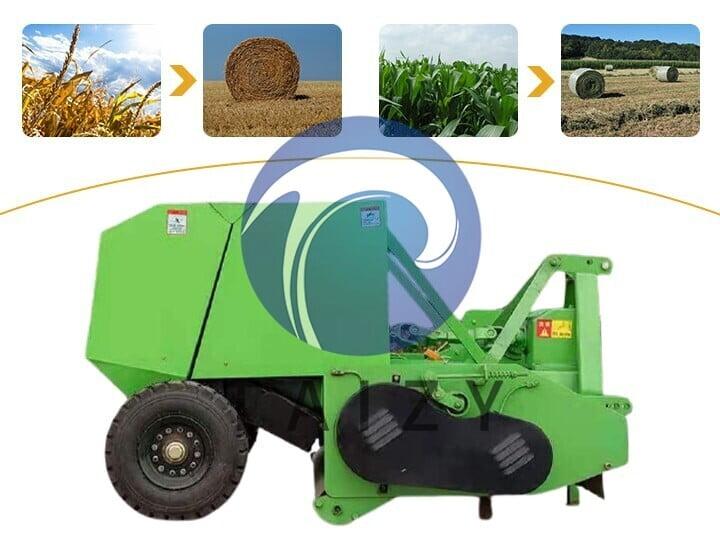 functions of round straw baler machine